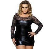 En simili-cuir Vente chaude Erotische Lingerie dentelle noir plus la taille de la lingerie sexy nuisette Bodycone Patchwork Lingerie Sexy