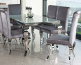 Muebles caseros modernos del comedor/conjuntos pulidos de cristal blancos estupendos del vector de cena de Louis de la plata del cromo del acero inoxidable con la tela que cena sillas