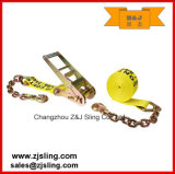 "Ratchet Strap/Lashing with w chain Extensions 3 "" X 20 ' and Color and Size CAN fuel element Customized"