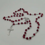 Collier en pierre de rosaire de talon, rosaire, collier catholique (IO-cr409)