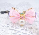 Mignon chien nylon rose col Bow Tie Pet faisceau Bell