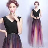 Signora sottile elegante lunga vestito convenzionale del vestito da sera del manicotto di nuovo modo
