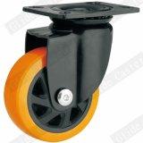 Mittlere Hochleistungs-PU-Fußrolle mit Spitzenbremse (G6221)