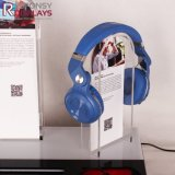 LED-helles Metall und Acrylkopfhörer-Bildschirmanzeige-Halter-Standplatz mit Firmenzeichen-Bildschirm