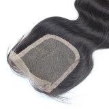 Fechamento descorado onda do laço do nó do corpo do cabelo humano de 100%
