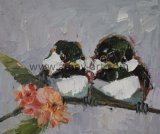 Tela di canapa Handmade della lama di gamma di colori di alta qualità che vernicia i doppi uccelli