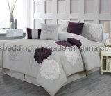 7 Piezas de lujo gris y violeta, el edredón bordado exclusivo conjunto de ropa de cama