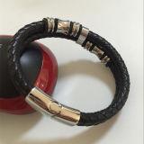 Chaud-Vendant les boucles d'acier inoxydable et le bracelet en cuir réel de corde (BL2848)