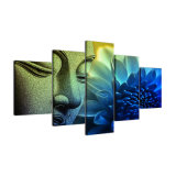 Modernes Wand-Kunst-Segeltuch HD druckt Panel-Buddha-Lotos-Buddhismus-Dekor-Abbildungen des LandschaftsÖlgemälde-Rahmen-modulare Plakat-5
