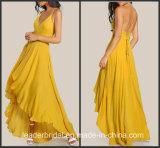 La reconstitution historique Chiffon jaune rectifie A - ligne les robes D819 de bal d'étudiants d'usager de robes de demoiselle d'honneur