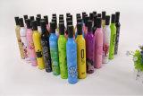 Diseño de la botella que hace publicidad del paraguas promocional de Customed con la impresión de la insignia