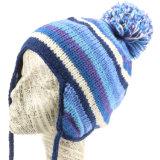 女性の女の子の冬の帽子は柔らかく暖かいEarflapの帽子の帽子を編む