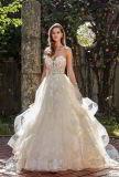 A - Zeile das trägerlose Hochzeits-Kleid Shinny Partei-Abschlussball-Kleid-Schatz-Spitze-Tulle-Ballkleider L6043