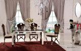 ブラウンファブリック椅子が付いている贅沢な現代ステンレス鋼の大きくまっすぐな足のダイニングテーブル