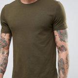 95% قطر 5% [إلستن] فارغة رجال زيتونيّ اللّون اللون الأخضر جيش [ت] قميص