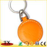 둥근 주황색 가죽 중요한 홀더 선전용 PU 가죽 열쇠 고리