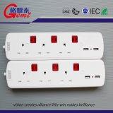 3개의 Way/4way 힘 지구 스위치 2 USB 출구 충전기 Saso 또는 Gcc를 가진 영국 서지 보호 장치