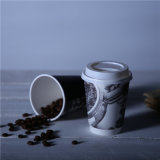 Impressão personalizada de parede dupla preta bebidas quentes Café copos de papel