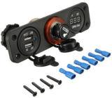 12V plot + voltmètre duels d'allumeur de chargeur + de cigarette du véhicule USB pour le véhicule et le bateau