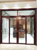 Puerta deslizante de aluminio del grano de madera con el vidrio doble