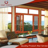 Aleación de aluminio de madera busca el aislamiento térmico Casement ventana con mosquitera