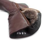Зимы высоких пяток теплых ботинок женщин ботинки женщин ультрамодной теплые кожаный