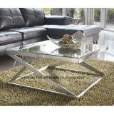 円卓会議および椅子セットを食事するガラス上のステンレス鋼