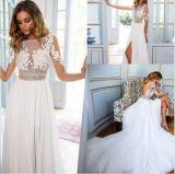 Manches longues blanc dentelle de Venise en mousseline robe de mariée de gaine H14654