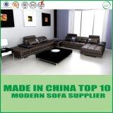 白い現代現代的な部門別の角の革居間のソファー