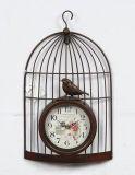 De antieke Klok van de Muur van Birdcage van het Witmetaal voor de Decoratie van het Huis