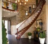 カシのステップの屋内二重縦桁の錬鉄まっすぐな階段