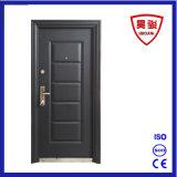 Porte extérieure de garantie d'entrée de sûreté en acier noire d'appartement