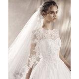 Luvas curtas que Wedding os vestidos nupciais Lb1828 da garganta completa de Tulle do laço dos vestidos de esfera