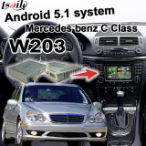 Video interfaccia di GPS della casella Android di percorso per lo schermo Waze Youtube WiFi Bluetooth del getto del codice categoria W203 di Mercedes-Benz C
