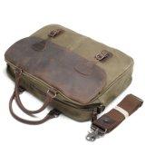 Crazy Horse Serviette en cuir sacs en tissu de toile lavée sacoche pour ordinateur portable de l'épaule (RS-82055K)