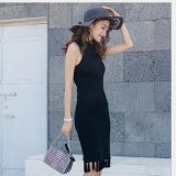 Europäische schwarze Wolle-strickendes Kleid-verbindenes Troddel-Kleid für Frauen