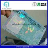 Tarjeta del PVC de la seguridad Cr80 con el recubrimiento olográfico