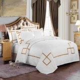 ホテルのコレクションのエジプト綿の白い刺繍の寝具セット