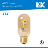4W 450lm E26 T14 nova espiral de filamento de lâmpada de luz LED retro
