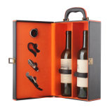 Il vino del documento di cuoio della bottiglia del lusso due di alta qualità trasporta la casella