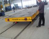 Carro de transporte eléctrico en los rieles para el manejo de molde en la planta