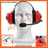 Atrás do Head Dual Earmuff Headset com XLR Quick Disconnect Cable
