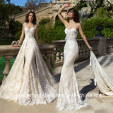 Robes 2017 de mariage détachables de train de lacet de robes nuptiales de Mariee GB19