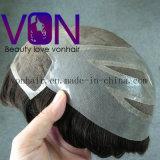 Von Hair Toupee Swiss Lace com PU em torno de cabelo Brasileiro