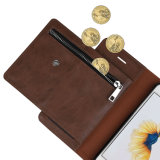 Lederne magnetische im Freiensport-Kippen-Fall-Folio-Standplatz-Fall-Reißverschluss-Münzen-Fonds-Einbauschlitz-Taschen-Mappe für iPhone 7