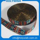 Gold/silberne Rand-Folie gedrucktes Satin-Farbband mit Cutom Muster