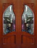 Puerta doble de madera sólida con el vidrio (DS-006)