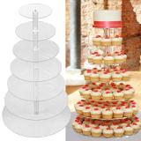 クリスマスのためのアクリルの円形のカップケーキの立場、風防ガラスのケーキの表示または結婚式または誕生日