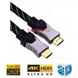 Câble de HDMI plaqué par or avec la tresse en nylon 1.4V