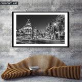 Het zwart-witte Af:drukken Van de binnenstad van het Canvas